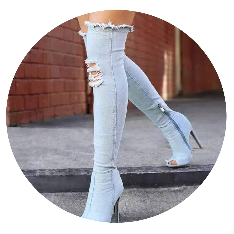 Sky bluee Women Sexy Stiletto Denim Over The Knee High Boots Zipper High Boots Women Peep Toe Pumps