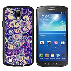 KLONGSHOP // Cubierta de piel con cierre a presión Shell trasero duro de goma Protección Caso - vórtice remolino de caramelo púrpura remolino resaca - Samsung Galaxy S4 Active i9295 //