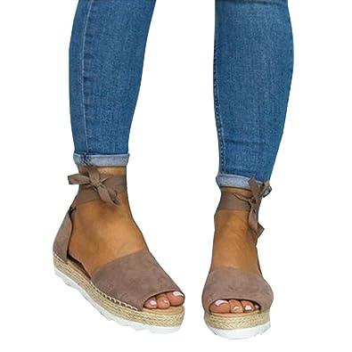 Kootk Frauen Sandalen Damen Offene Schuhe Plateau Flach Peep Toe Schuhe Sandaletten Sommerschuhe Strandschuhe