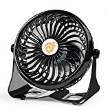 D-FantiX Small Quiet Desk Fan USB, Rechargeable Desktop Fan USB Powered / Battery Operated Personal Fan for Home, Office, Dorm Black (4 Inch)
