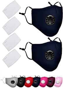 2 Pack Face Covers with 4 Air Filter Cotton Sheet Washable Reusable Face Protector with Adjustable Straps-Dark Blue