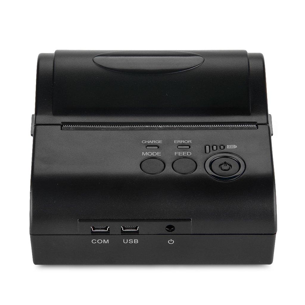 Excelvan Wireless Bluetooth Stampante Termica Portatile Dot Stampante POS 80mm Ricevuta Scontrino USB ESC/POS/STAR per Android Cellulare o Tablet (80mm)