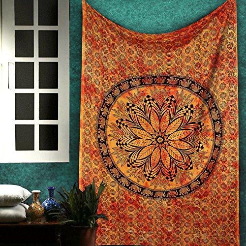 Twin Mandala Wall Decor - Indian Pure Cotton Tapestry Tie Dye Bohemian Tapestry Hippie Elephant Wall Art Hanging Boho Room Decor - Orange - 84 X 54 Inches