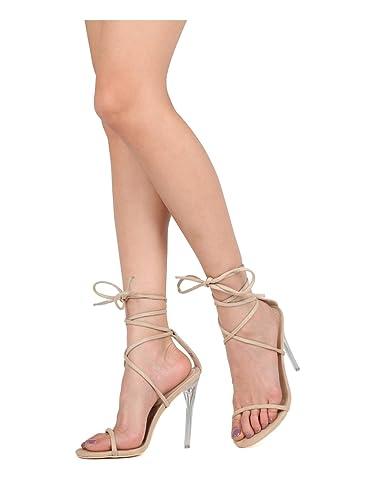 632e780b243 Alrisco Women Faux Suede Open Toe Ankle Strap Perspex Stiletto Heel Sandal  HG86 - Beige Faux