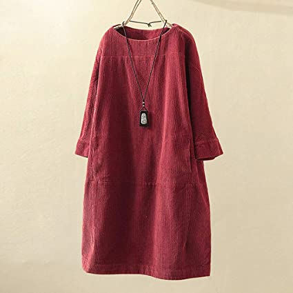 SMILEQ Dress Women Vintage Pockets Corduroy Long Blouse Skirt Solid Button Sleeve Loose Casual Plus Size Dresses