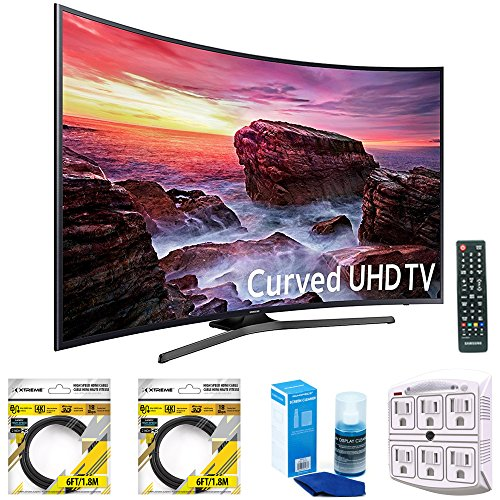 Samsung Curved 54.6 LED 4K UHD 6 Series SmartTV 2017 Model (UN55MU6490FXZA) with 2x 6ft High Speed HDMI Cable Black, Universal Screen Cleaner for LED TVs & SurgePro 6-Outlet Surge Adapter