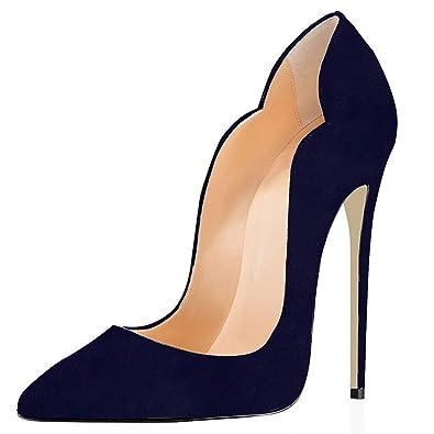 7e42bdde606b61 elashe Escarpins Femmes - Noir - Stiletto - Plusieurs Coloris- Brillant  Synthétique - Talon Aiguille