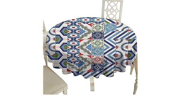 Amazon.com: Rectangle Round Tablecloth 50 Inch Retro ...
