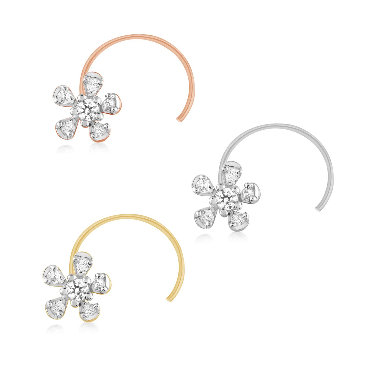 10k Solid White Gold Genuine Diamond Nose Stud Floral Ring Pin 0.05Ct