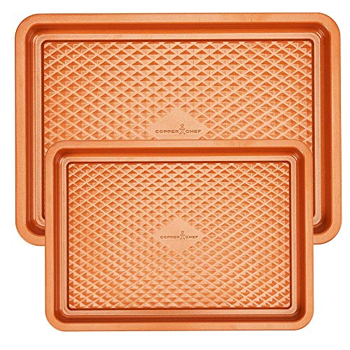 Copper Chef 2-Pc. Cookie Sheet Set | 9x13 Cookie Sheet and 12 x 17 Cookie Sheet - Non Stick Coating | Chef-Grade Baking Pans for Oven Use | Diamond Pan Collection (Sheets Large Copper)