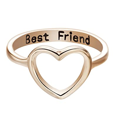Amazon Com Qiandi Women S Heart Love Best Friend Promise Ring Gifts