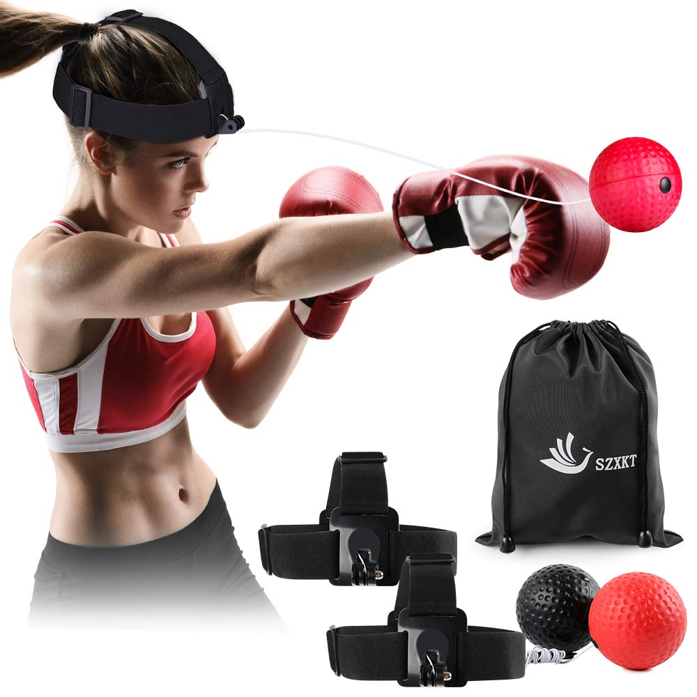 SZXKT Boxing Reflex Ball with 2 Boxing Balls and 2 Headbands for Training Fight Skill Hand Eye Coordination and Other Sports Training and Fitness Boxing Equipment by SZXKT