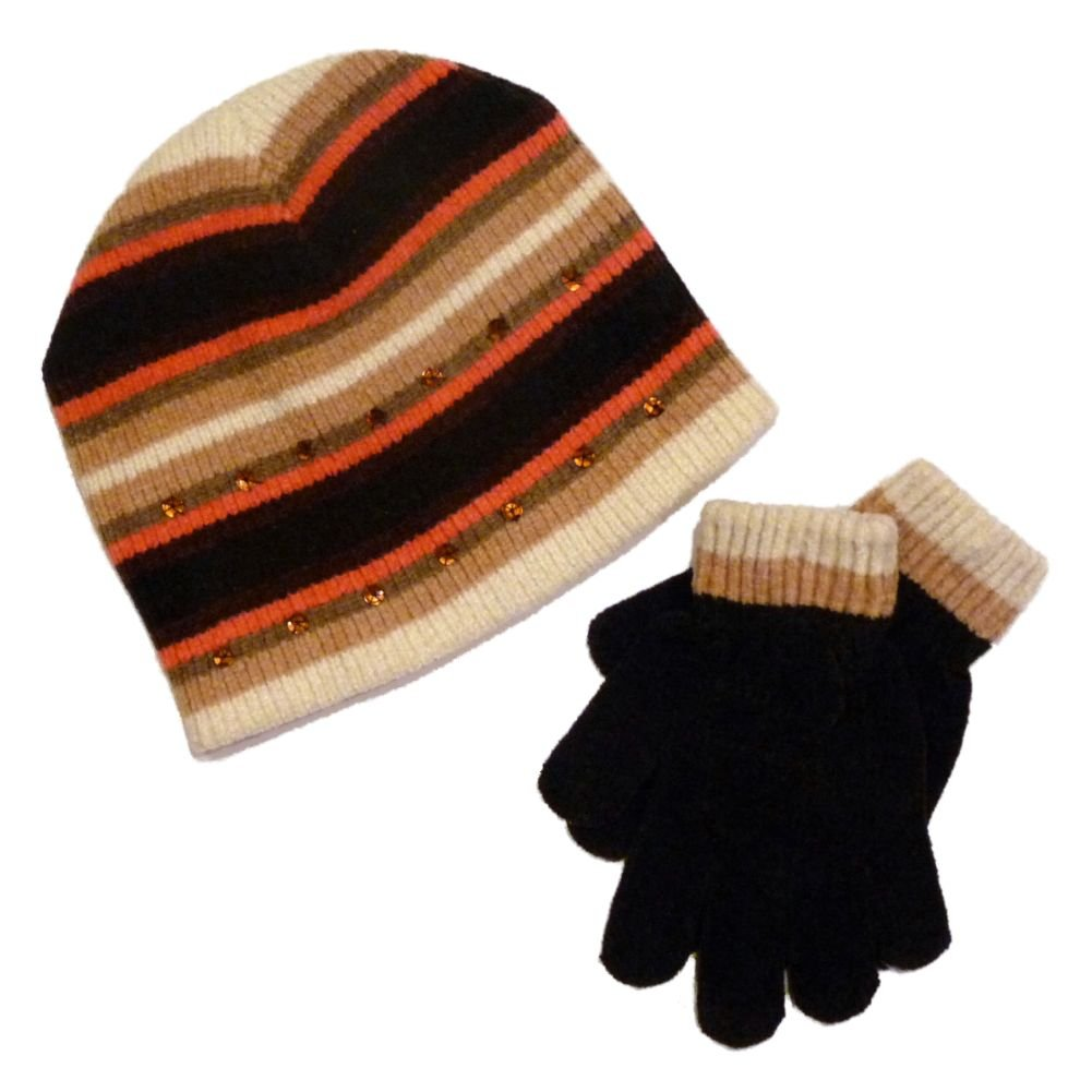 Faded Glory Girls Brown /& Pink Stripes Sequin Hat /& Gloves Beanie Set