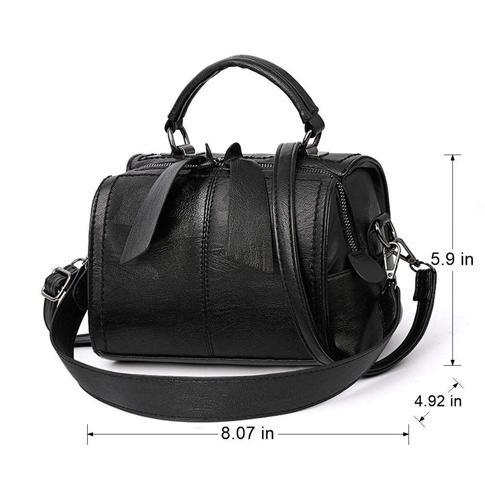 5190f143f4dd Amazon.com  Mn Sue Women Small Boston Bag PU Leather Handbag Top Handle  Barrel Design Satchel Crossbody Lady Purse (Black)  Shoes