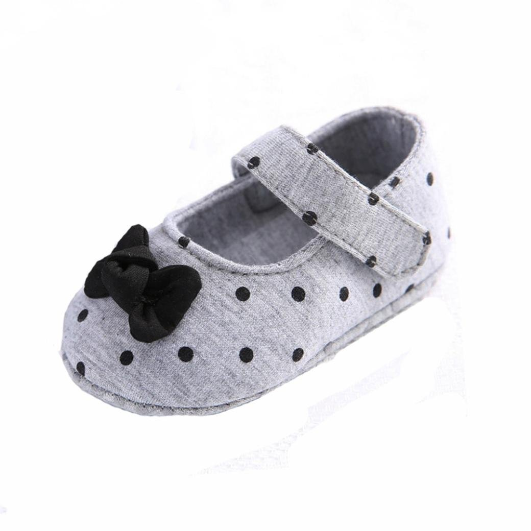 Kids shoes, Familizo First Walking Shoes Newborn Baby Girl Bowknot Shoes Unisex Soft Sole Crib Toddler Anti-Slip Dot Cute Shoes for 0-2 years old (UK 1.5/Age:0~6 Month, Gray)
