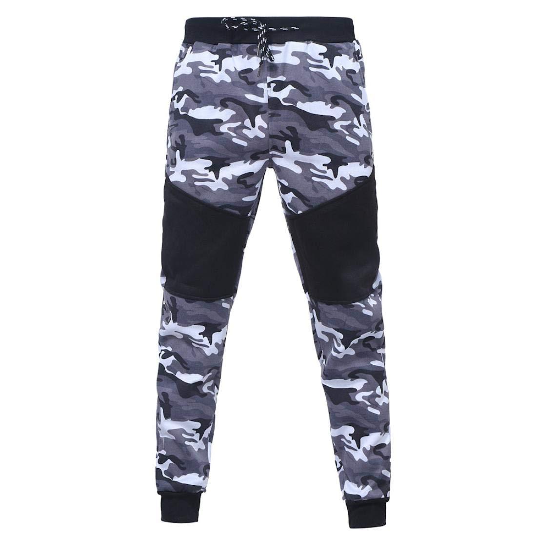 ZODOF Pantalones de ch/ándal de Camuflaje Casuales para Hombre Pantalones de cord/ón Empalme de Camuflaje Negro al Aire Libre de los Hombres