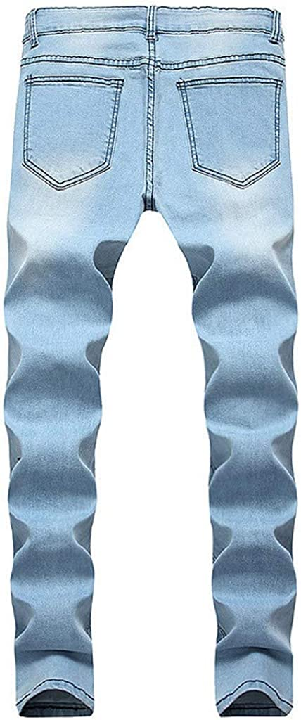 Mens Fashion Hip Hop Premium Jeans Expandable Waist Trousers Distressed Jeans Pants F/_Gotal Mens Jeans Skinny Stretch