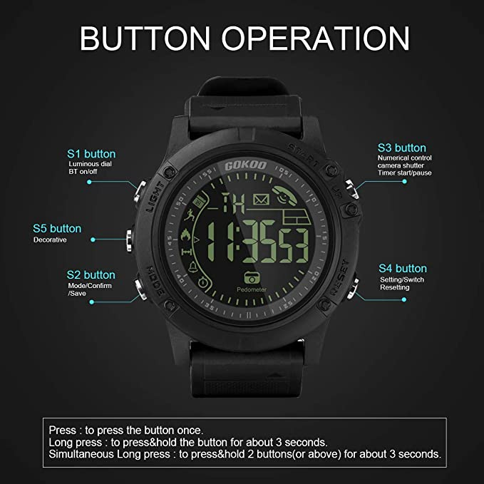 Amazon.com: Sports Smart Watch, GOKOO S10 Pro Digital Outdoor Sports Smartwatch for Men with Pedometer, Calorie Counter, Distance, Stopwatch, Waterproof, ...