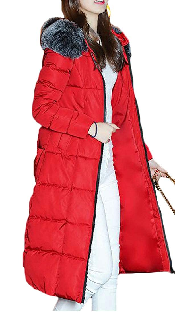 Wofupowga Women Winter Puffer Thicken Faux Fur Hooded Parka Jackets Coat