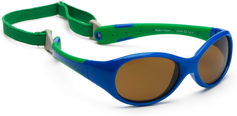 Gafas de sol para koolsun Baby Flex Joven 0–3AñOS, Royal & Green |100% protección UV | con desmontable Diadema | Optical Clas 1, cat. 3