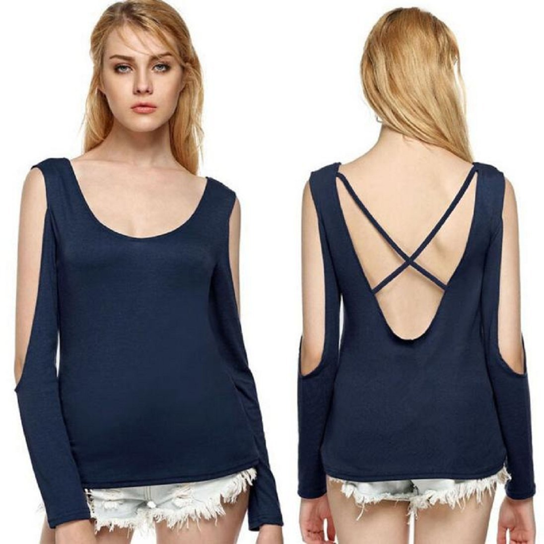 cd59ea06d7ea1b AutumnFall Womens Halter Backless Cross Straps Loose Off Shoulder Shirt  Blouse Top at Amazon Women s Clothing store