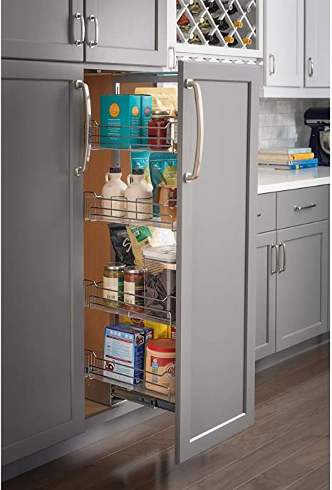 Amazon Com 18 Wide X 63 High Chrome Wire Pantry Pullout With Heavy Duty Soft Close Kitchen Dining