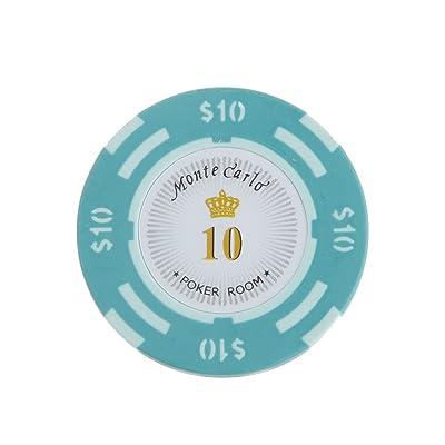 10pcs Jetons de Poker Monte Carlo Etiquette Casino Chips en Argile avec Valeur $1-10000 - 10, L