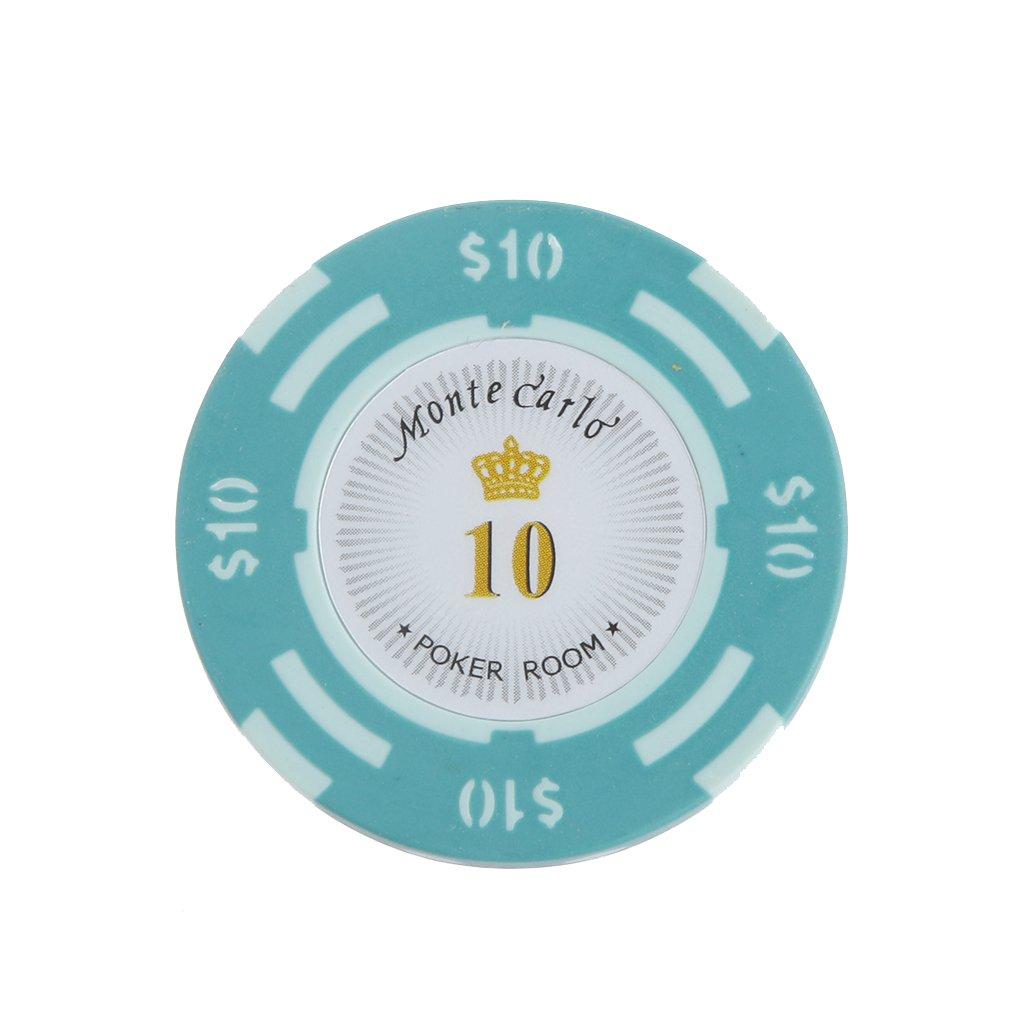 10pcs Jetons de Poker Monte Carlo Etiquette Casino Chips en Argile avec Valeur $1-10000 - 10, L Generic