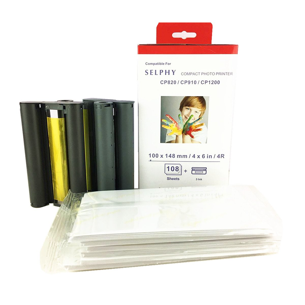 KP-108IN Color Ink/Paper Set (108 Sheets & 3 Ink) Compatible with SELPHY CP1300 CP800 CP810 CP820 CP900 CP910 CP1200 ES1 ES2 CP200 CP1000 Printer KP-108IP by HEMEINY