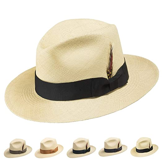 Ultrafino CARTER FEDORA Panama Hat Natural Straw Stylish at Amazon ... 282461da3b79