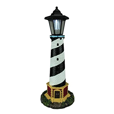 World Of Wonders Guiding Light Black and White Solar LED Outdoor Lighthouse Statue : Garden & Outdoor