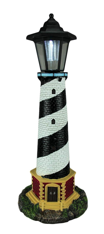 World Of Wonders ライトモノクロソーラーLED屋外灯台像を8 X 20.5 X 8インチ指導アウトドア像を樹脂 ワンサイズ 多色 B07F46W75W