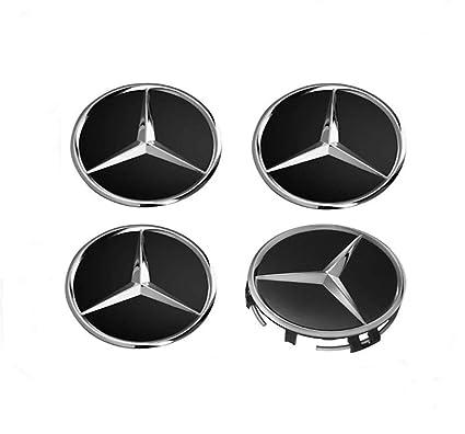 IGGY 4 x Tapones Tapacubos Negro Logo Mercedes de 60 mm - Clase ABCE CLK GL M ML SLK - para Tachuelas Círculos Aleación