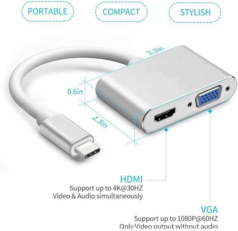 USB C to HDMI /& VGA Adapter Thunderbolt 3 Compatible USB Type C to HDMI 4K+VGA Converter Adapter,Dual monitor 2-in-1 mini converter for 2018 iPad Pro//MacBook Pro//Chromebook//Lenovo 900//Dell XPS//Sams