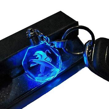 VILLSION 7 Colores Cambiantes Logo Coche Peugeot Llavero con luz LED Llave Accesorios