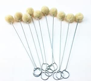 yueton Pack of 10 Wool Daubers with Metal Handle for Leather Dyes, Sealers