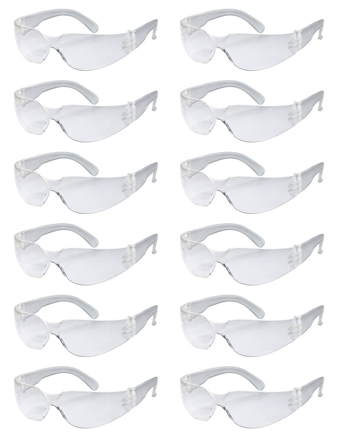 BISON LIFE Safety Glasses, One Size, Clear Protective Polycarbonate Lens, 12 per Box (1 box)