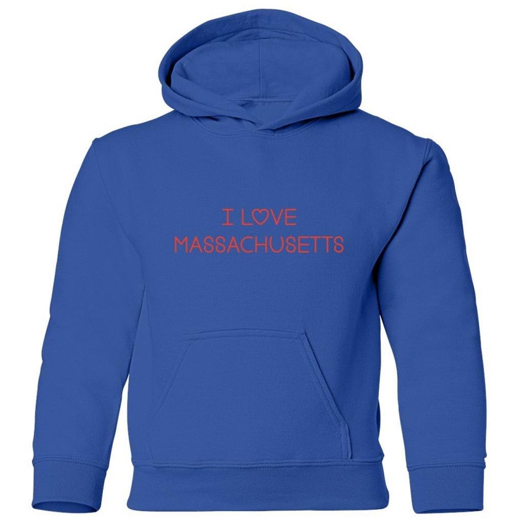Mashed Clothing Big Boys I Love Massachusetts Kids Hooded Sweatshirt