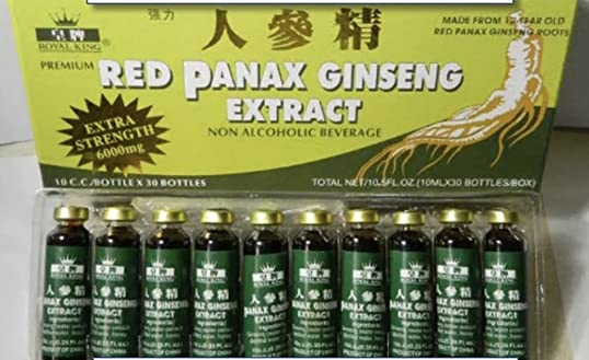 Royal King Red Panax Ginseng Extract 6000mg 10c.c. bottle X 30 Pack of 4
