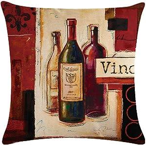 Throw Pillow Covers Wine Bottles Vine Oil Painting Cotton Linen Burlap Decor Couch Pillowcases Cushion Cases 18 x 18