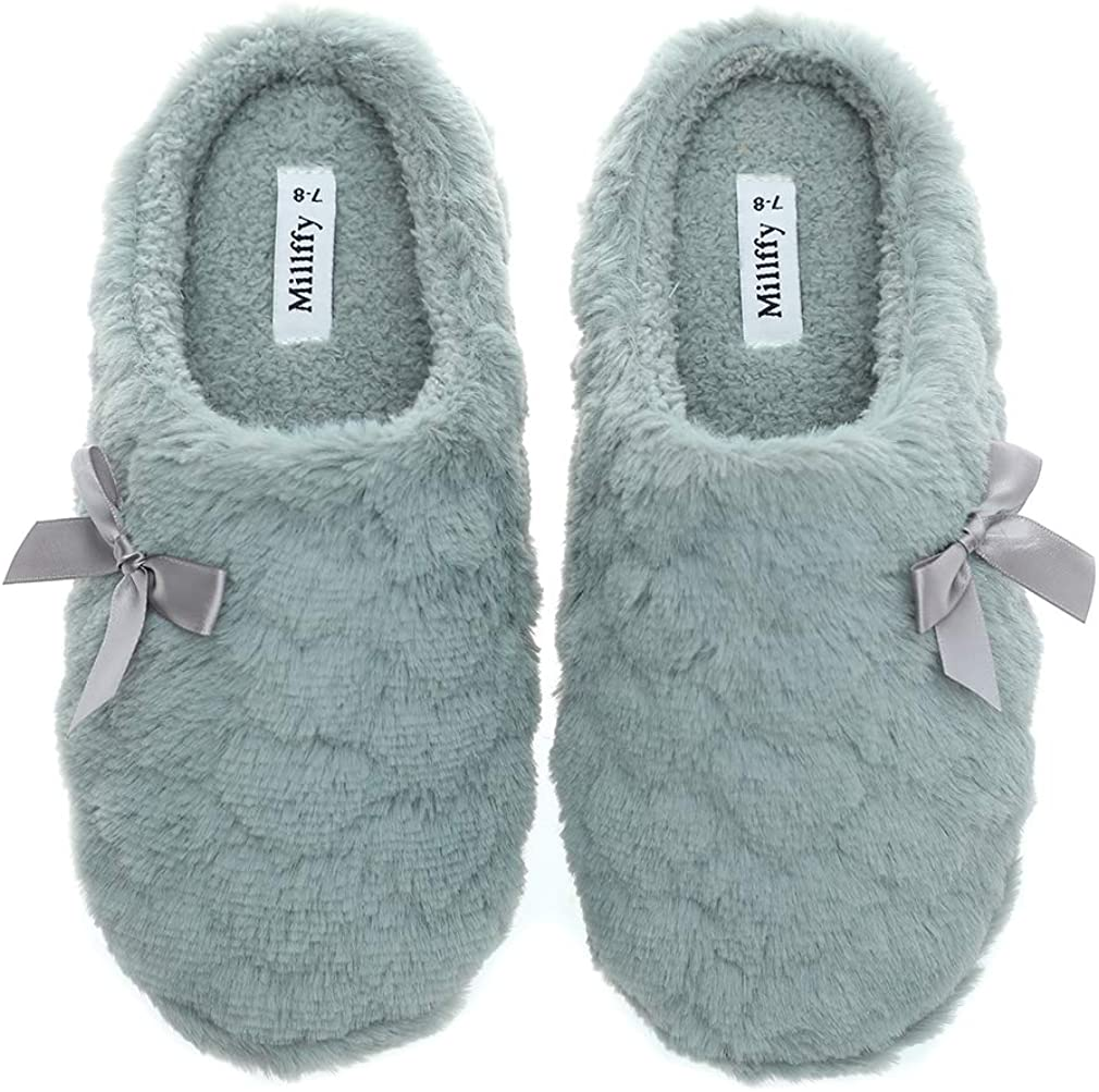 Womens Mens Indoor Slippers Winter Warm Fuzzy Plush Fur Anti-Slip House Bedroom Slippers
