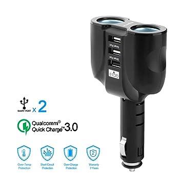 Rocketek QC 3.0 cargador de coche USB con adaptador de encendedor de cigarrillos de coche de 2-Socket y 3 puertos de carga USB para tabletas, GPS, ...