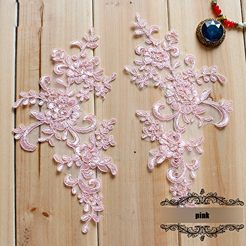 Pink Butterfly Lace (2 Pcs Pink Flower Lace Patches for Wedding Dress DIY Clothing Flower Applique Collar Material)
