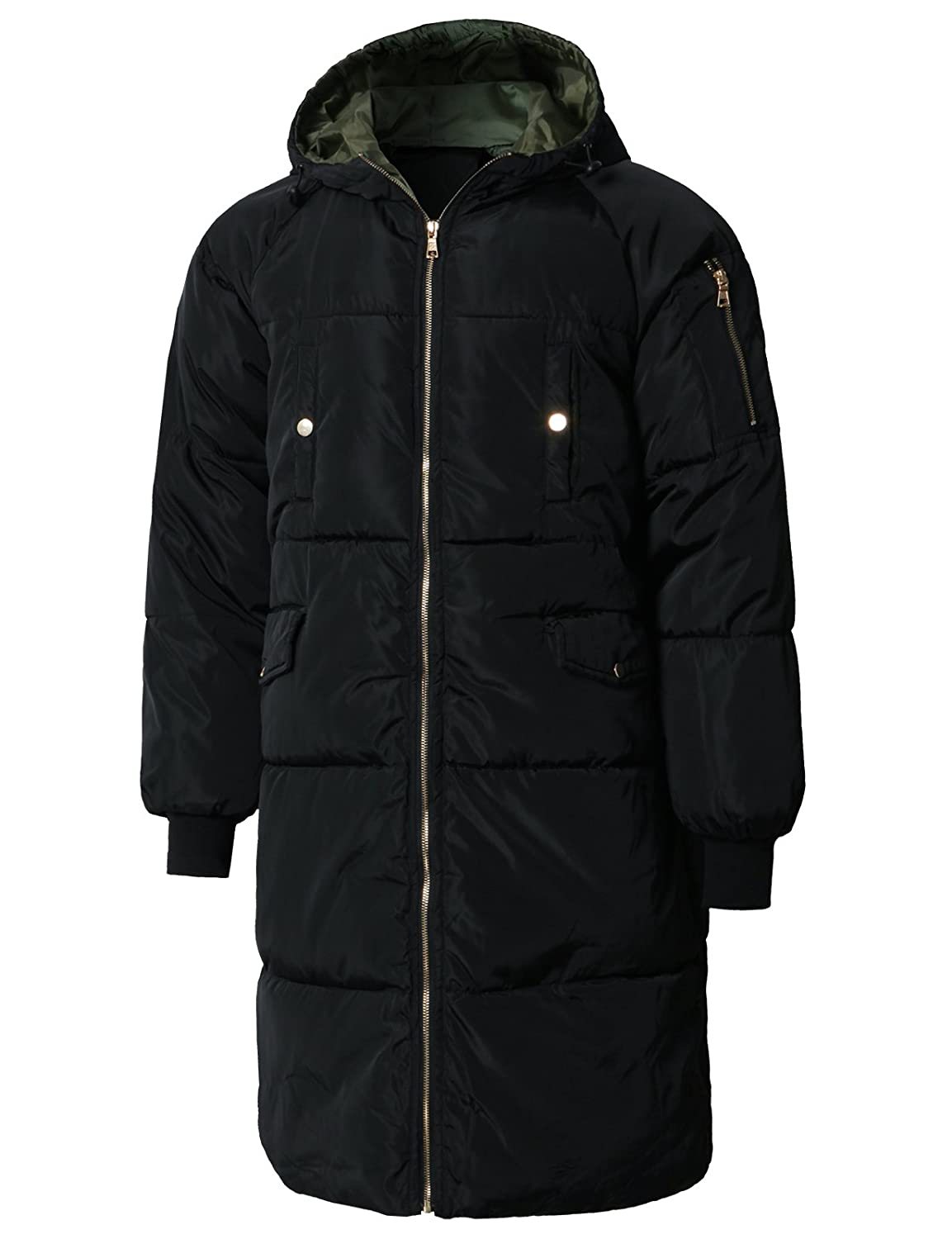 H2H Mens Active Puffer Jackets Outerwear Winter Quilted Long Coats with Hoodie #KMOJA0381