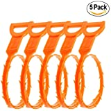 Drain Snake,5 Pack of Tencal 20'' Hair Drain Clog Remover Cleaning Tool and Drain Cleaner for Sink and Bathtub Toilet,Hook Catcher Unclogger and Auger Plumbing