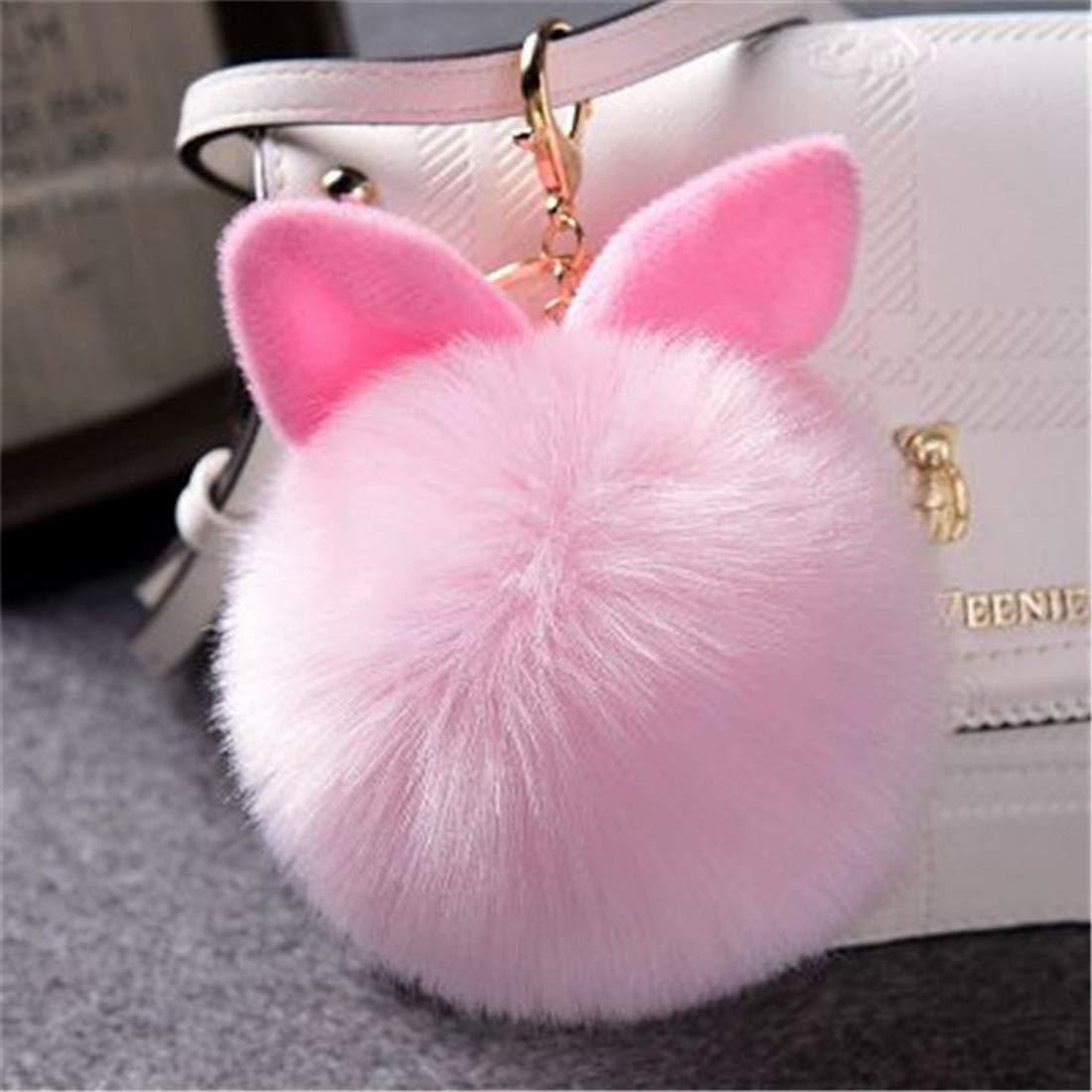 Pompom Bunny - Llavero artificial de piel de conejo con ...
