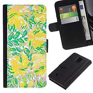 Be Good Phone Accessory // Caso del tirón Billetera de Cuero Titular de la tarjeta Carcasa Funda de Protección para Samsung Galaxy Note 4 SM-N910 // Green Flowers Flow Summer