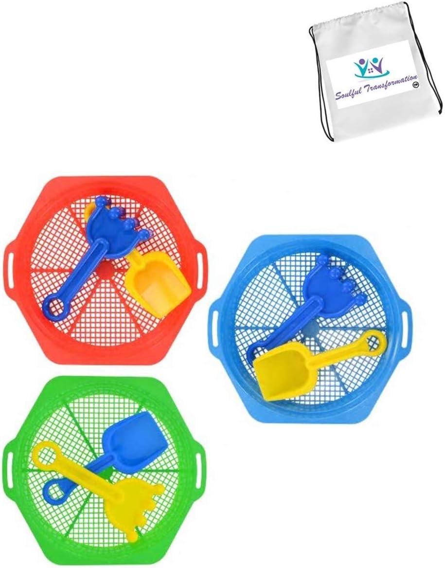 Bundle of 2 Kids Fun Play Sand Toys Summer Outdoor Swimming Bonus Exclusive ST Days of Fun Activity Book TM Sifter Rake Shovel Sand Set 3-Piece