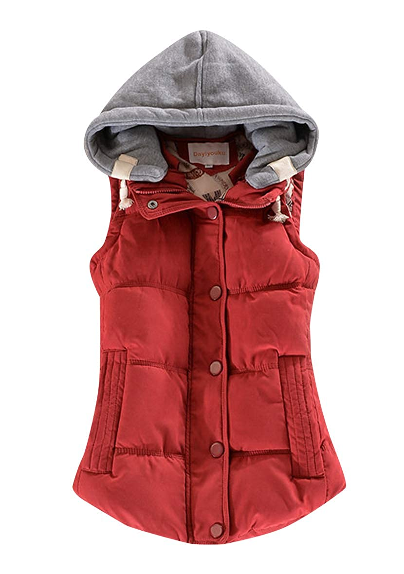 YMING Womens Winter Gilet Quilted Zipper Vest Warm Coat with Removable Hood