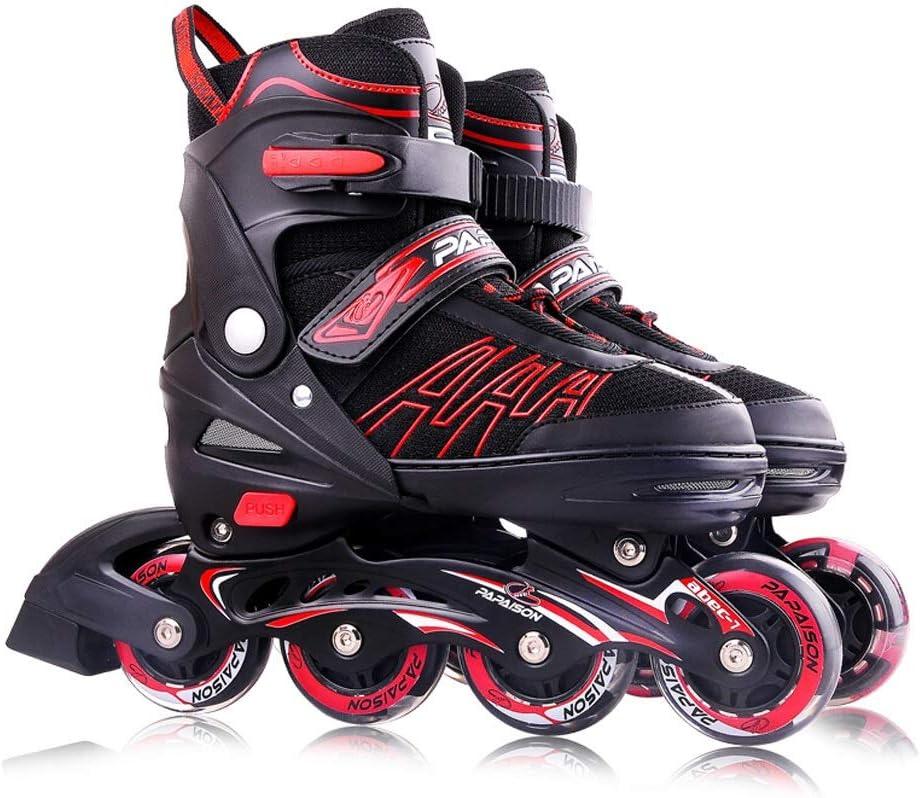 YANG 子供のためのインラインスケート、調節可能なローラースケートボタン、初心者用2-8イルミネーションホイール、男の子用、ブラックレッド (Color : B, Size : XL(EU 42 - EU 45)) B XL(EU 42 - EU 45)